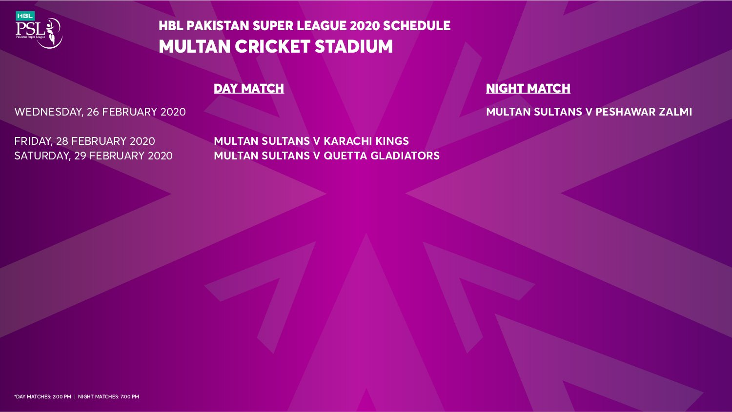 Multan Cricket Stadium schedule
